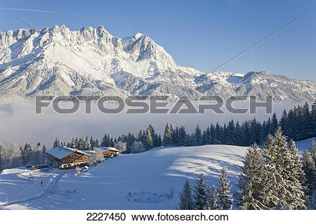 Stock Photography of High angle view of farmhouses on polar.