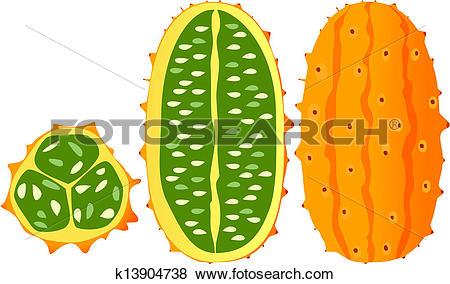 Clip Art of Horned melon, kiwano, African horne k13904738.