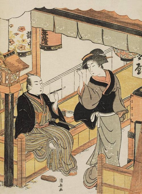 A Teahouse Waitress and a Customer. Woodblock print. About 1778.