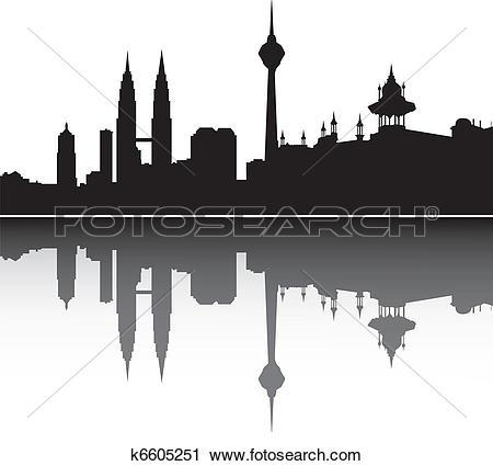 Clipart of Petronas Twin Towers in Kuala Lumpur k2209681.