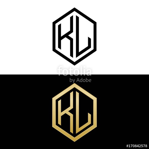 initial letters logo kl black and gold monogram hexagon.