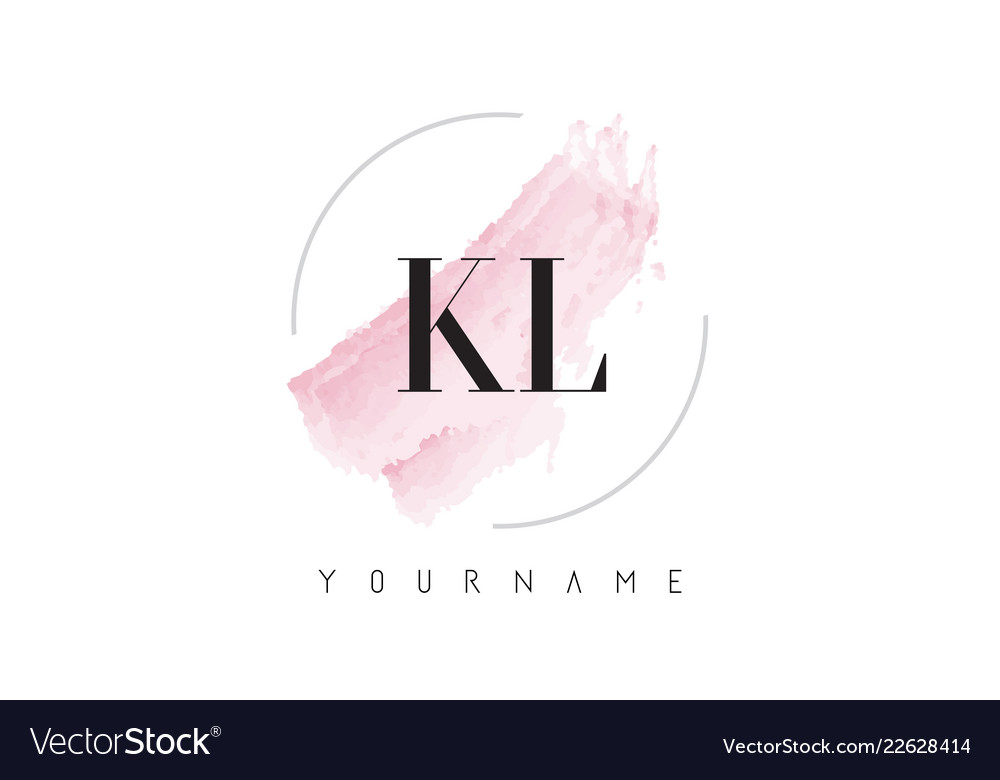 Kl k l watercolor letter logo design with.