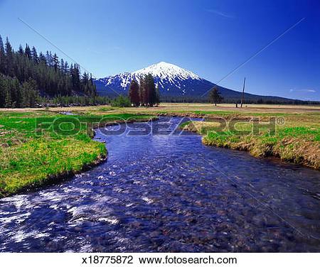 Stock Photo of USA, Oregon, Mt. Bachelor with stream x18775872.