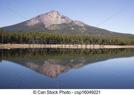 Stock Photo of Four Mile Lake Mount McLoughlin Klamath County.