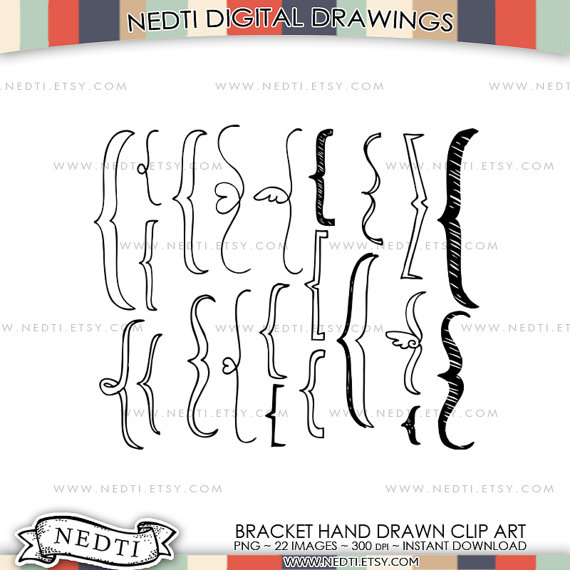 Brackets Doodle Clip Art Bracket Clipart Hand drawing PNG by Nedti.