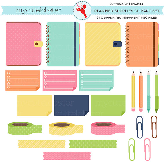 Planner Supplies Clipart Set planners by mycutelobsterdesigns.