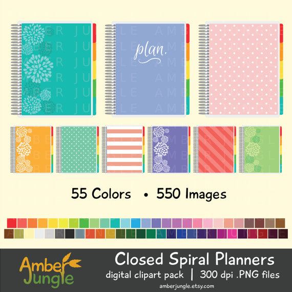 Planner Clipart Closed Spiral Planner Clip Art for by AmberJungle.