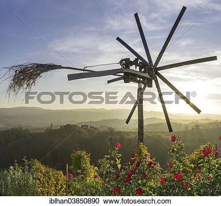 """Stock Photography of """"Klapotetz bird scarer with roses and a."""