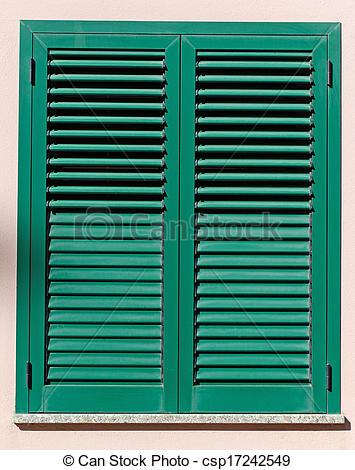 Stock Foto von fenster, grün, Fensterläden.