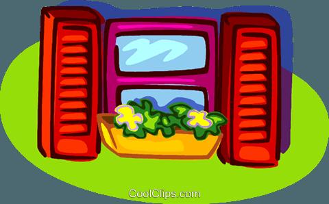 Fenster mit Blumen und Fensterläden Vektor Clipart Bild.