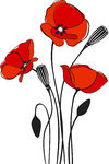 Vector Clipart of Poppy floral background.
