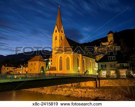 Stock Photograph of Klausen (Chiusa), the old town and the hall.