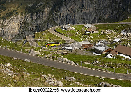 """Stock Images of """"Yellow bus from the PostAuto Schweiz AG in a."""