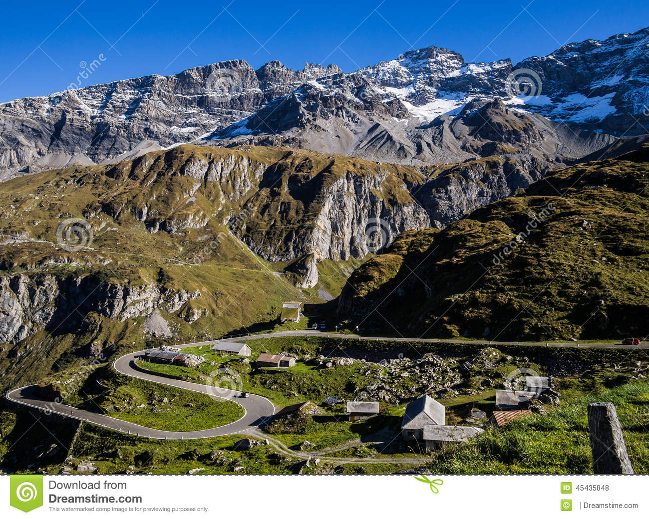 Cliffs To Mountains To Village Stock Photo.