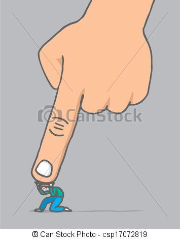 Vektor Clip Art von Riesig, aus, Hand, Druck, unter, klein, kerl.