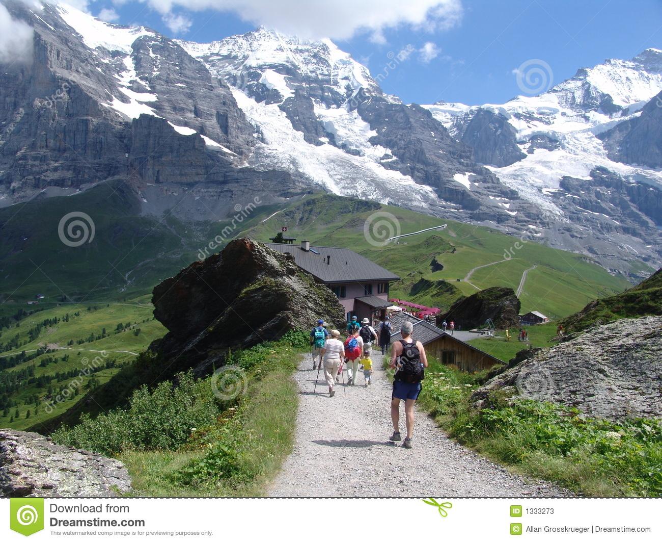 Hiking The Jungfrau Mountain Area Stock Photos.