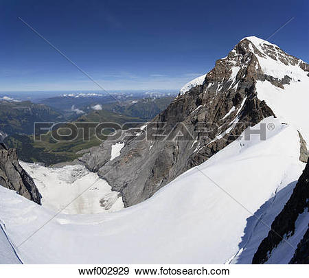 Stock Photograph of Switzerland, Bernese Oberland, Aletsch Glacier.