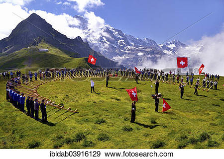"""Stock Photograph of """"Alphorn blowers and flag throwers, Grosses."""