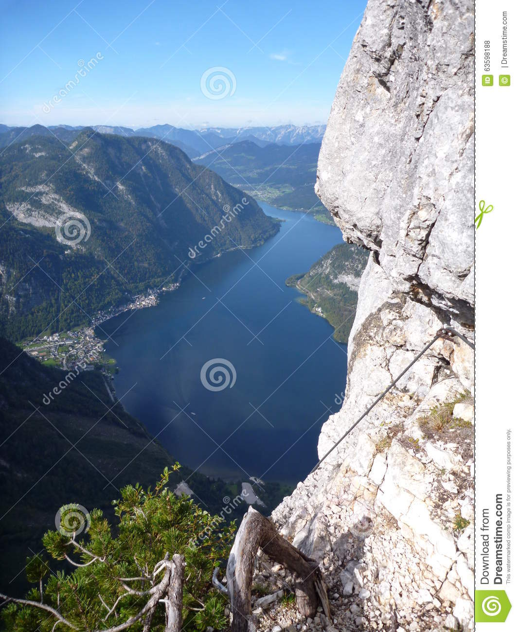 Lake View From Via Ferrata Seewand Klettersteig Stock Photo.