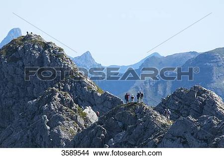 Stock Photo of Hindelanger Klettersteig, Nebelhorn, Allgaeu Alps.