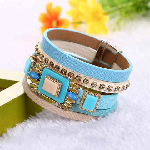 Crystal Gem Rhinestone Magnetic Leather Bracelet.