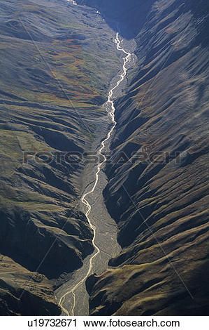 Stock Photography of Aerial view of river bed, Kluane National.