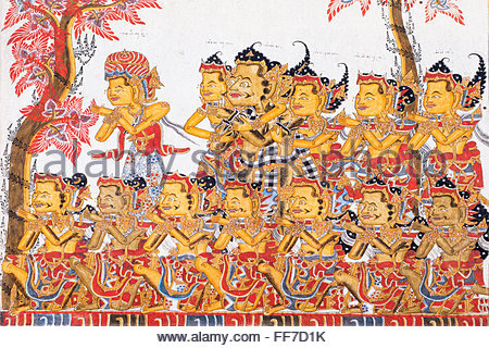 Traditional Kamasan Paintings, Kertha Gosa Pavilion In Puri Stock.