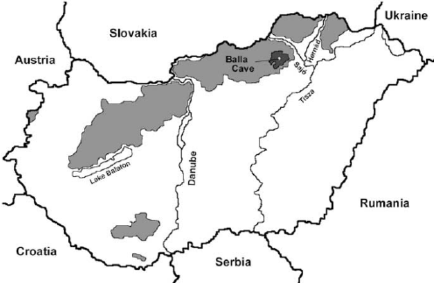 Location of the Balla Cave in Northeastern Hungary. Light grey.