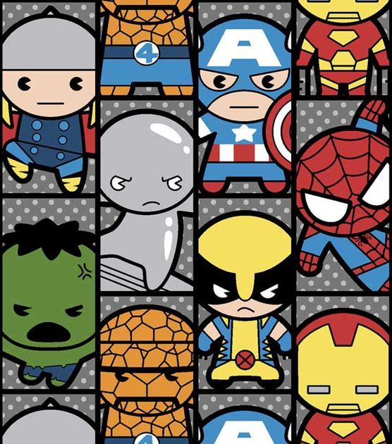 Marvel Kawaii Stripe Cotton Fabric.