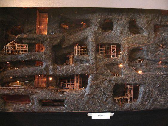 underground cave model railroad.