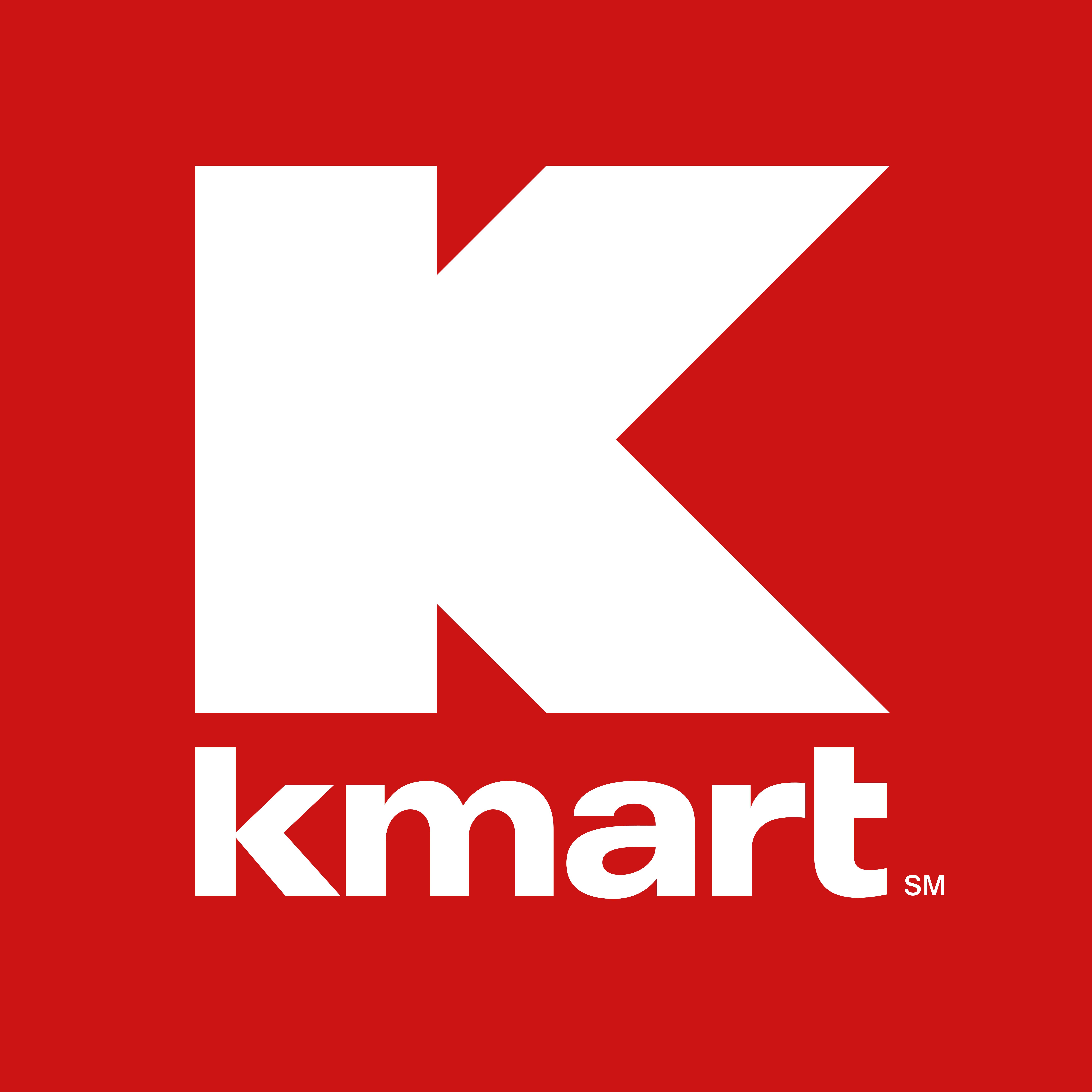 Kmart logo, red background.