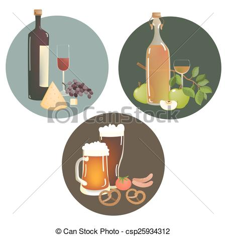 Vektor Clip Art von Getränke, alkohol, knabberzeug.