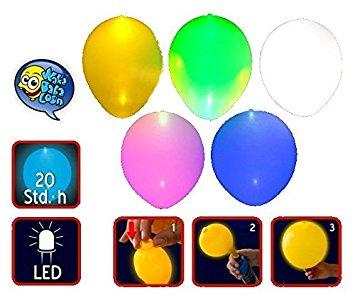 5 LED Luftballons knallbunt im 5.
