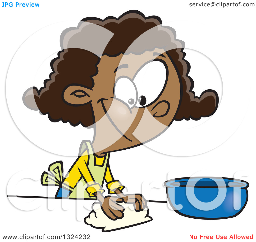 Clipart of a Cartoon Happy Black Girl Kneading Dough and Baking.