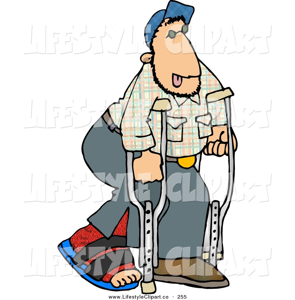 Man on crutches knee clipart.