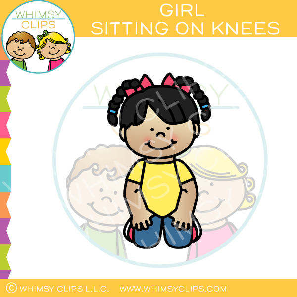 Girl Sitting On Knees Clip Art.
