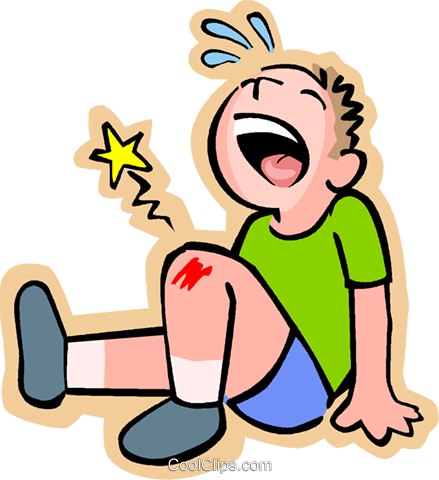 Little boy with scraped knee Royalty Free Vector Clip Art.