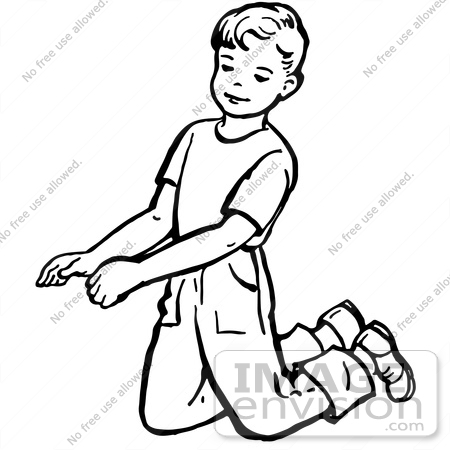 Clipart Of A Retro Boy Kneeling In Black And White.
