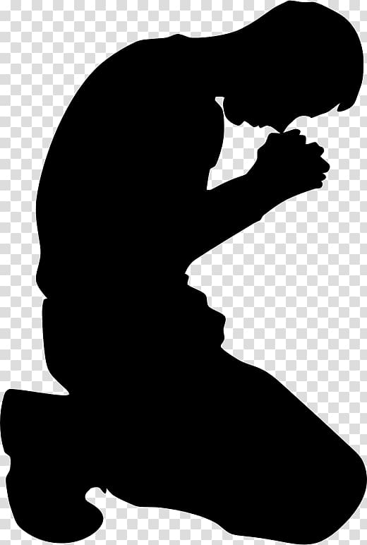 Praying Hands Kneeling Silhouette , pray transparent background PNG.