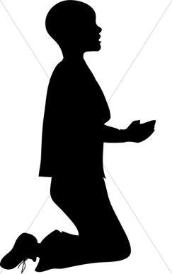 Boy Kneeling in Silhouette Clipart.
