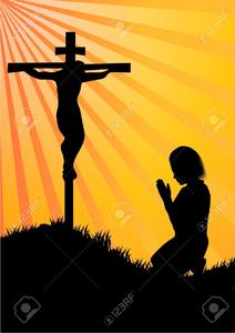Women Kneeling At The Cross Clipart.