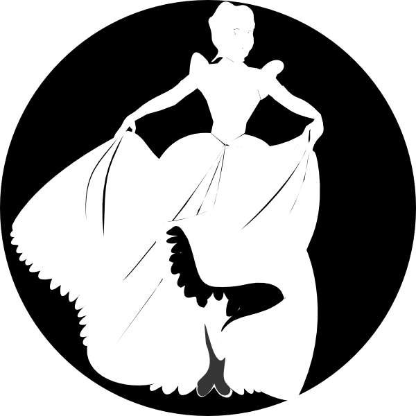 White Princess Silhouette In Black Background Clip Art Pictures.