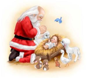 Clipart Of Santa Kneeling At The Manger.