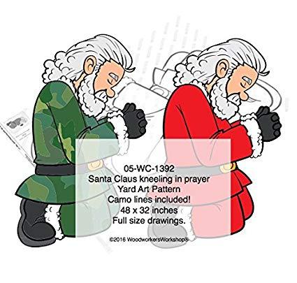 Santa Camo Claus Kneeling in Prayer Full Size Woodworking Pattern.