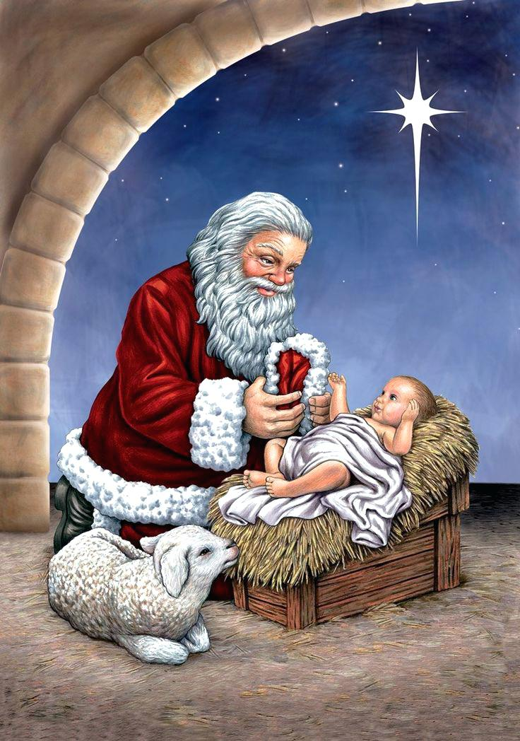 Kneeling Santa Painting at PaintingValley.com.