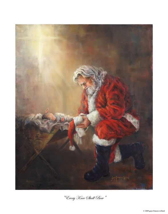 coloring picture of santa kneeling at the manger.