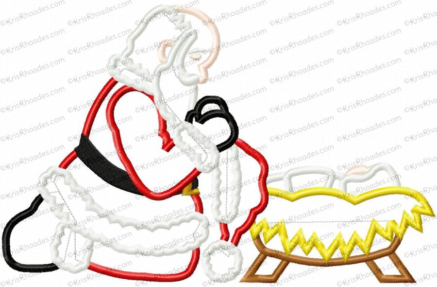 Santa Kneeling at Manger Applique Embroidery Design.