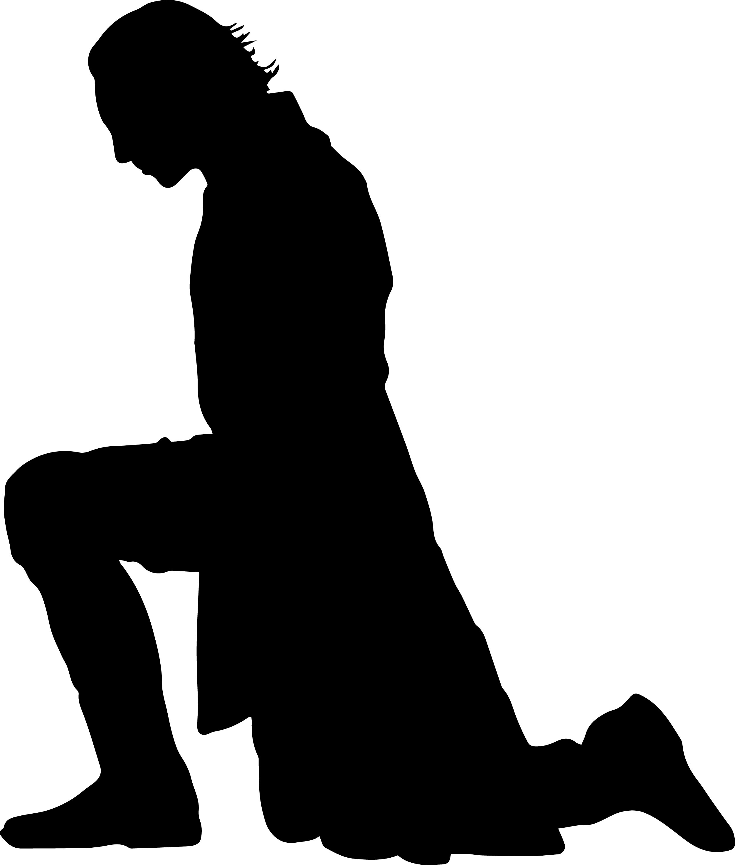 Kneeling prince silhouette clipart.
