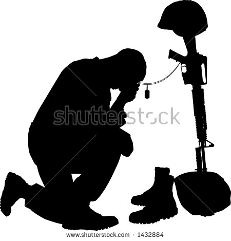 Silhouette Kneeling Stock Images, Royalty.