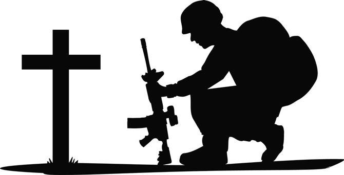 Soldier Praying Silhouette.